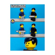 – Se potessi, vado da un mio amico in Romania. – Andrei – No, Bogdan. Lego Memes, Italian Memes, Vignettes, Funny Jokes, Geek Stuff, Sleep, Art, Humor, Geek Things