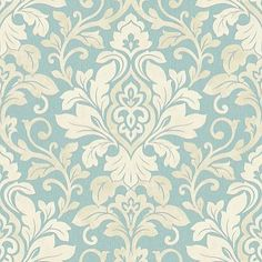 Mozart Teal (414604) - Arthouse Wallpapers - A classic damask design with a contemporary shabby chic twist. Shown in the Teal colourway. Please request sample for true colour match.