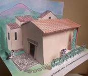 Paper Pompeian Villa PDF templates with landscaping, tiled roof, fresco reproductions for the walls and mosaics for the floors. Instructions. Very cool!