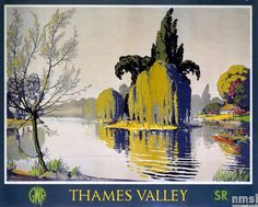 Original Vintage Great Western And Southern Railway Poster Thames Valley Gwr Sr Original vintage GWR Kunst Poster, A4 Poster, Poster Wall, Wanderlust, England Travel Poster, British Travel, Southern Railways, Railway Posters, Senior Trip