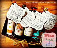 DIY Wine Wedding Gift - basket of wines with cute tags, first ...