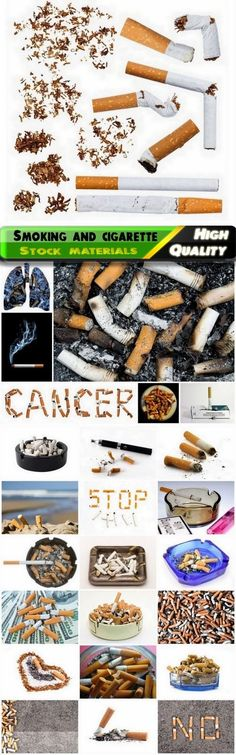 Smoking is bad habit and cigarette butts with ashes - 25 HQ Jpg