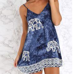 Sexy-Women-Sleeveless-Elephant-Print-A-Line-Dress-Long-Tops-Vest-Blouse-Sundress  ebay.co.uk