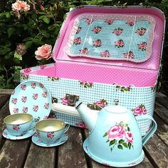 children's retro rose floral tea set by the little picture company   notonthehighstreet.com