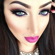 Flawless Makeup, Beauty Makeup, Face Makeup, Hair Beauty, Makeup Inspo, Makeup Inspiration, Bright Pink Lips, Girl Attitude, Exotic Beauties