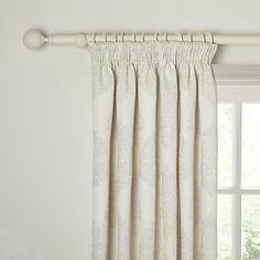 Buy John Lewis Chenille Damask Lined Pencil Pleat Curtains, Grey Online at johnlewis.com