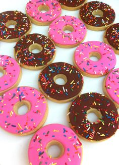 Rainbow Sprinkle Donuts Cookies by SunshineBakes.etsy.com