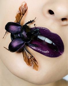 """A little bit morbid and macabre, like in """"The Silence of the Lambs"""".  Wonderful Lips with Wonderful Scarab or just .... dung beetle"""