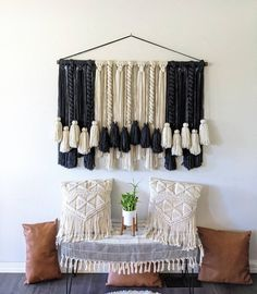 Yarn Wall Hanging, Large Macrame Wall Hanging, Wall Hangings, All Wall, Wall Spaces, Large Wall Art, Wooden Beads, Boho Decor, Throw Pillows