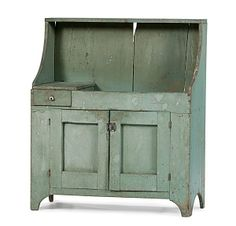Mid 19th c. dry sink in original light blue paint.  google.com