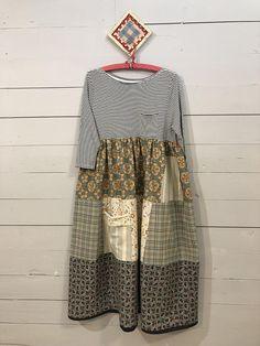 L/XL Pale Blue Green Patchwork T-Shirt Dress-Print Mix