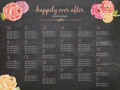 Printable Chalkboard Wedding Seating Chart by sweetpressStudio, $55.00 #wedding #decor #sign