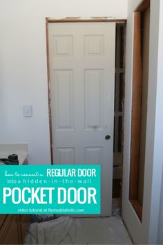 Learn to install a pocket door frame the easy way. A pocket door will save your floor space and open up valuable square footage for behind the door storage, hallway space, and more. Hidden Doors In Walls, Small Doors, Pocket Door Frame, Pocket Doors, Pocket Door Hardware, Halle, Pocket Door Installation, Bathroom Doors, Bathroom Pocket Door