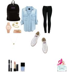 school by evalynntween on Polyvore featuring polyvore fashion style 2LUV Converse JanSport Allurez Michael Kors White House Black Market Lancôme Marc Jacobs Witchery