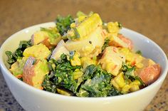Recipe: Moroccan Potato Salad with Corn and Kale 5 to 6 boiled red potatos, 2 corn on the cob, 1/2c celery, 1/4c red onion, 4tsp. Of mustard, 1/2 lemon, 1 handful of baby spinach, and dash of pepper