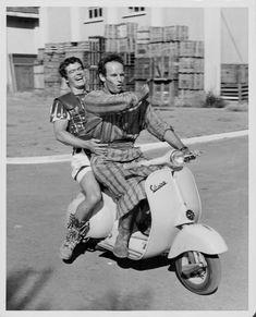 Stephen Boyd y Charlton Heston durante el rodaje de 'Ben-Hur' en Cinecittà Studios - Roma.