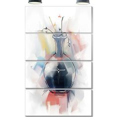 DesignArt 'Abstract Flowers in Vase' 4 Piece Painting Print on Canvas Set