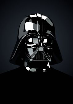 Very cool Vader design. Darkness of the background doesn't take away from it, it adds emptiness, which I think is really cool. The use of white as highlights makes the helmet look shiny and gives it that dimensional look.