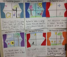 """My favorite season"" writing with construction paper curtains on window. Kindergarten Writing, Teaching Writing, Writing Help, Kindergarten Activities, Writing Activities, Weather Activities, Study Helper, Topic Sentences, 2nd Grade Writing"