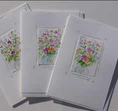 Card Ideas Discover Handmade cards original watercolor notecards with flowers set of 3 Watercolor Journal, Watercolor Cards, Watercolor Flowers, Watercolor Painting, Diy Note Cards, Diy Cards, Drawing Frames, Paint Cards, Art Impressions