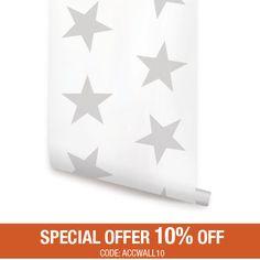 Sterne grau Peel & Stick Stoff Tapete repositionierbar