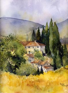 A watercolour landscape of a scene in Tuscany • Buy this artwork on home decor, stationery, bags et more.