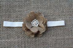 Burlap Flower Headband, Shabby Chic Photo Prop, Infant, Toddler Headband