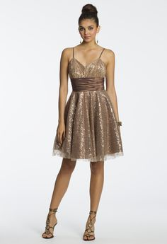 Short Sequin Cumberbund Dress by Camille La Vie & Group USA