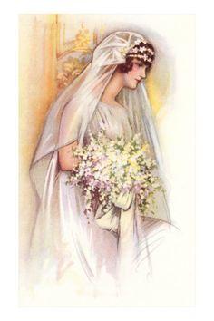 Victorian Bride Clip Art Black And White Graphics Vintage