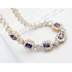 2pcs Elegant Golden Swarovski Crystal  Sterling Silver Chokers Necklace | Stud Earrings