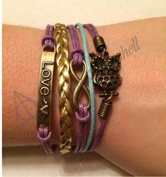 Amazing Charm Bracelets for Cheap! Purple, Blue, Gold, Owls, Love, Infinity, Charm, Bracelet! Etsy.com