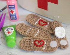 "My kids are suddenly into playing doctor…it might have something to do with their new interest in the show Doc McStuffins Little brother calls this game ""time for your check-up."" I found a doctor kit for $3 at Toys-R-Us but it was missing one of the most important items… the band-aids! A crochet version was …"