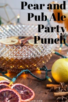 This pear punch is the perfect rum drink for your next holiday party. This big batch beer cocktail is a super easy drink to make. New Years Cocktails, Cider Cocktails, Festive Cocktails, Christmas Cocktails, Halloween Cocktails, Rum Recipes, Punch Recipes, Easy Drinks To Make, Hot Buttered Rum