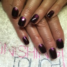 CND Shellac in Dark Dahlia with pink gold sparkle additive fade