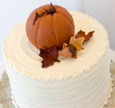 Fondant pumpkin cake topper with leaves and by SeasonablyAdorned Fondant Cake Toppers, Cupcake Cakes, Fall Pumpkins, Acorn, Icing, Our Wedding, Thanksgiving, Leaves, Desserts