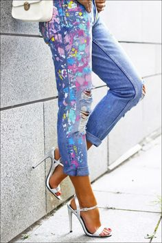 Paint Splattered Jeans - Anna Mour