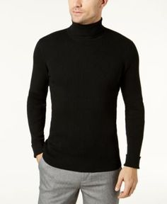 Ryan Seacrest Distinction Men's Turtleneck Sweater, Created for Macy's - Black XXL Warm Clothes For Men, Mens Turtleneck, Men Sweater, Warm Outfits, All About Fashion, Men Looks, Cotton Sweater, Casual Looks, What To Wear