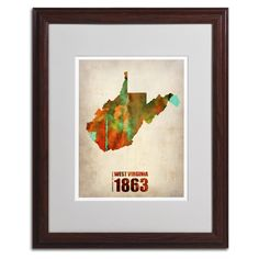 West Virginia Watercolor Map by Naxart Matted Framed Painting Print