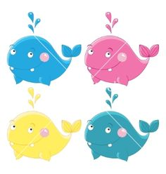 Colorful funny whales character vector by Lyusya on VectorStock®