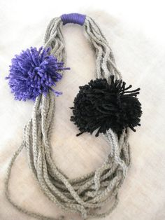 Grey pom pom necklace Crochet necklace Festive jewelry by Poppyg