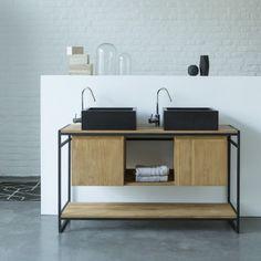 Meuble salle de bain – Vente de meubles en teck et métal 140 cm - Tikamoon