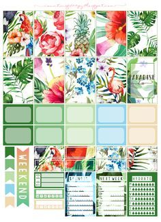 FREE Printable Tropical Paradise Planner Stickers from Counting Sheepy