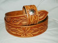 Custom Hand Tooled Leather Belt, Matching Bracelet - Your Size by Lone Tree Leather Works | CustomMade.com