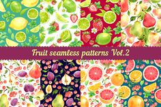 Fruit seamless patterns Vol. 2 by Evgeniia Zagreeva on @creativemarket