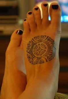Maori Foot Tattoo Design for Women
