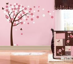 Blooming Cherry Tree with Butterflies Nursery by smileywalls, $89.00 Wall art is a wonderful, easy addition to add interest to any wall-space!