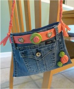BLUE JEAN BAG....Small handbag made from recyled blue jeans and tee shirts, perfect size for little girls.