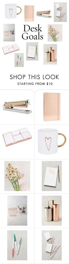 """Rose Gold Desk Goals"" by redenjewelry ❤ liked on Polyvore featuring interior, interiors, interior design, home, home decor, interior decorating, Kate Spade, West 