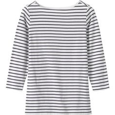 Toast Breton Tee ($42) ❤ liked on Polyvore featuring tops, t-shirts, 3/4 sleeve boatneck top, breton top, boat neck tee, boat neck t shirt and three quarter sleeve tops