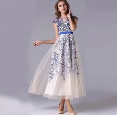 New Long Blue/Red Lace Prom Gown Evening/Formal/Party/Cocktail/Prom Dress